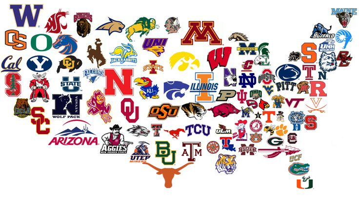 Map of US with University Logos
